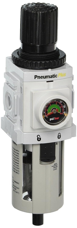 Bracket High Flow 5 Micron Manual Drain Embedded Gauge 1//4 NPT Piggyback Combo High Flow Poly Bowl PneumaticPlus PPP3-N02BG Compressed Air Filter Regulator 1//4 NPT