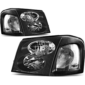 For GMC Envoy 2nd Gen XL SUV Pair of Black Housing Clear Corner Headlight Lamp