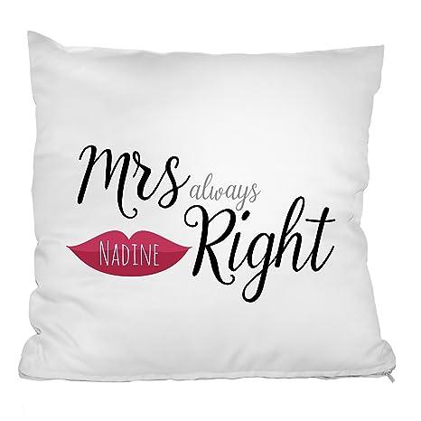 """26edc78927 'personello® Personalizzato Bares """"Mrs. Always Right cuscino  personalizzato con il nome"""