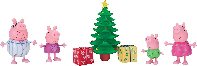 Peppa Pig Wutz 95648 Jazwares - Juego de 4 Figuras móviles con árbol de Navidad para niños a Partir de 2 años