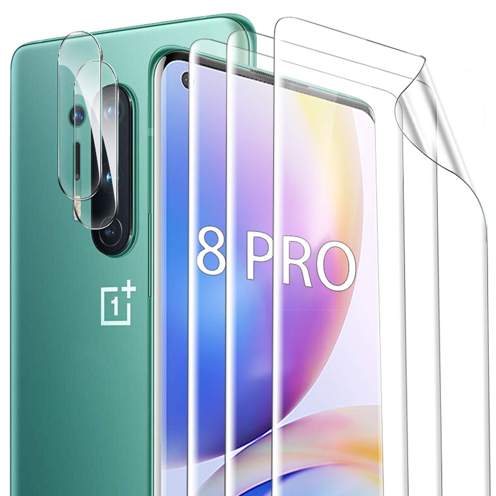 GESMA for Oneplus 8 Pro Screen Protector and Camera Lens Protector, [3 Screen Protectors+2 Camera Protectors] Bubble Free Scratchproof TPU Film Screen Protector for Oneplus 8 Pro(NOT FIT WITH ONEPLUS 8) (Clear)