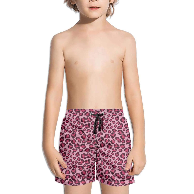 ddasqas Grey Leopard Print Kid Boys Shorts Swimming Trunks Sporty Swim Trunks