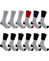 12 Pairs Winter Extreme Warm Boot Socks Thermal Socks Fits Size 10-15 Assorted Colors