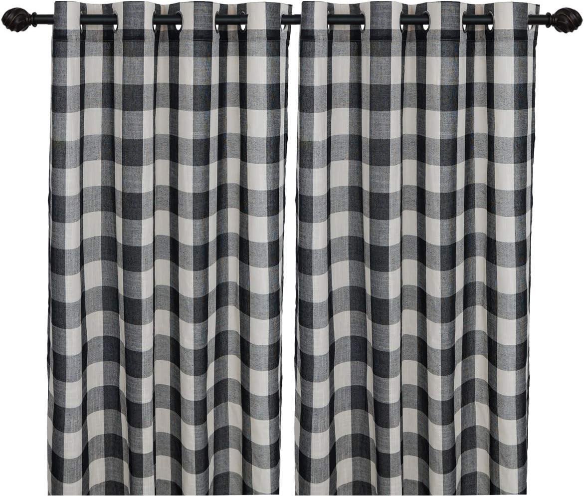 Creativesfun Buffalo Check Grommet Window Curtain Black White, Panel W53 X L108-INCH 2PCS