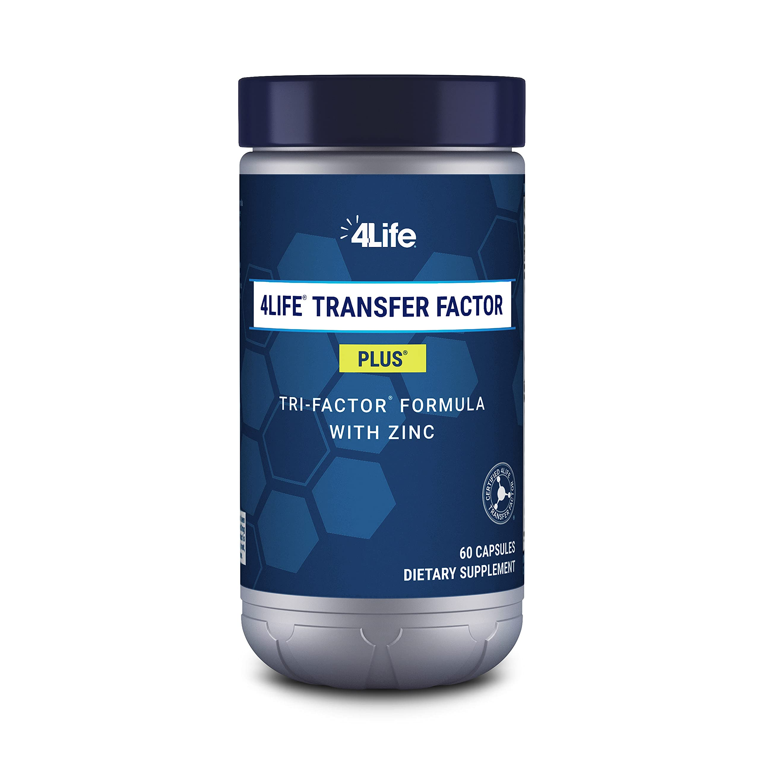4Life Transfer Factor Plus Tri-Factor Formula - Immune System Support with Zinc, Super Mushroom Blend (Maitake, Shiitake, Agaricus), and Extracts of Cow Colostrum and Chicken Egg Yolk - 60 Capsules