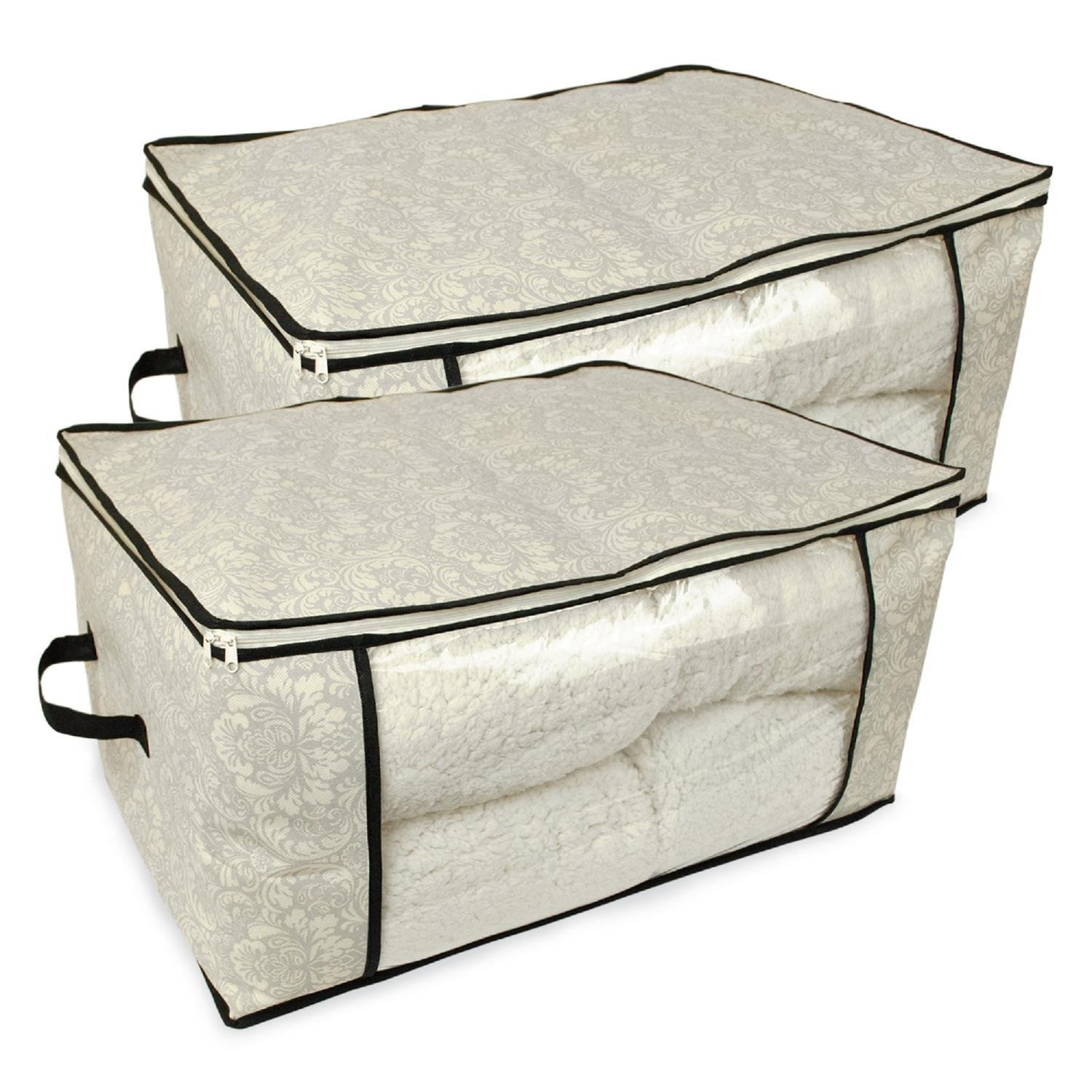 CC Home Furnishings Set of 2 Gray Damask Patterned Soft Storage Bins with Zipper Closure 18''