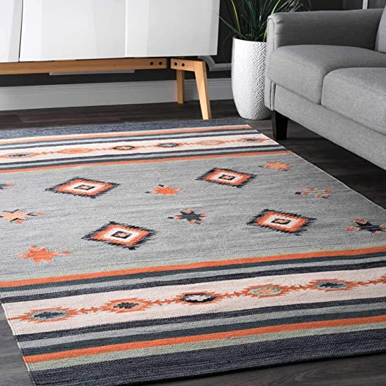 LL 5×8 Grey Orange Blue Southwest Area Rug Rectangle Shaped, Indoor Gray Tribal Carpet for Living Room Native Themed Indian Aztec Rustic Diamond Stripe Pattern Geometric Hand Woven, Cotton