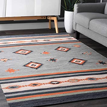 Ll 5x8 Grey Orange Blue Southwest Area Rug Rectangle Shaped Indoor Gray Tribal Carpet For Living Room Native Themed Indian Aztec Rustic Diamond Stripe Pattern Geometric Hand Woven Cotton Furniture