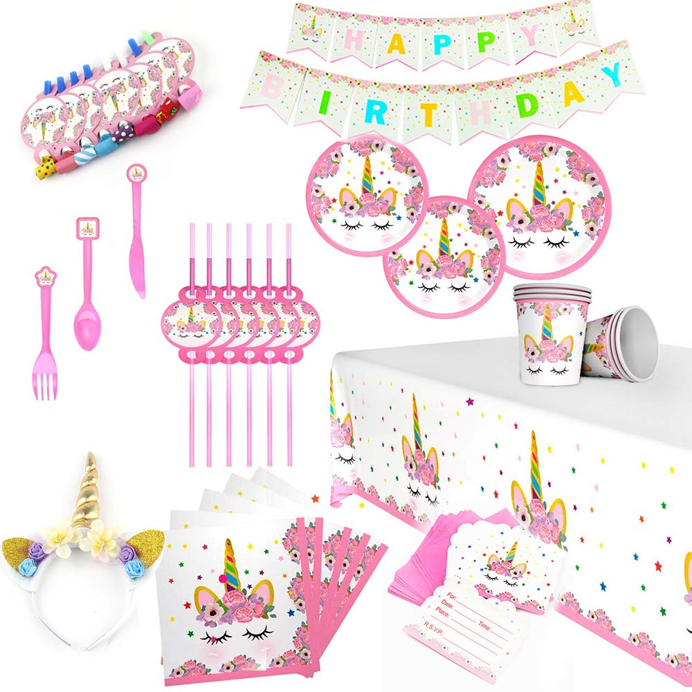 Unicorn Birthday Party Supplies - Unicorn Themed Party Favors - Party Decorations Party Supplies Kit,Birthday Party Packs Serve 16 Girls and Baby Shower-167 Pieces