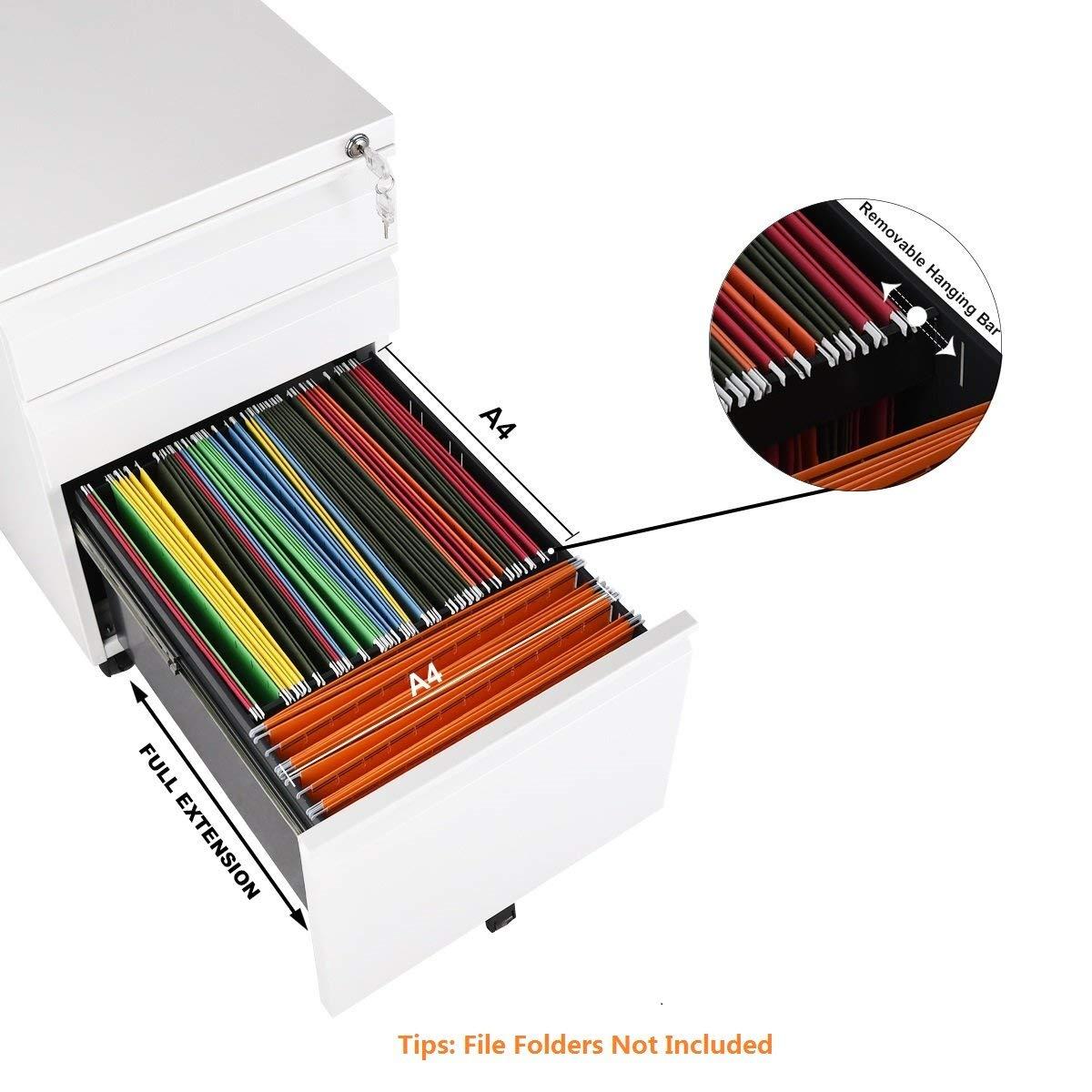Lockable White DEVAISE Mobile 3 Drawer Filing Cabinet//Pedestal for A4 ; All-Steel 60cm H