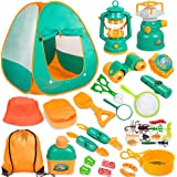 Meland Kids Camping Set with Tent 24pcs - Camping Gear Tool Pretend Play Set for Toddlers Kids Boys Girls Outdoor Toy Birthda