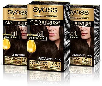 Syoss Oleo Intense - Tono 2-10 Negro Castaño (Pack De 3) – Coloración permanente sin amoníaco – Resultados de peluquería – Cobertura profesional de ...