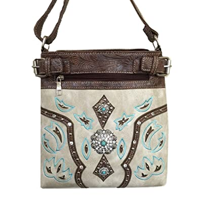 3438261242c4 Image Unavailable. Image not available for. Color  2015 Western Brown  Turquoise Trimmed Leather Rhinestone Concho Stud Messenger Handbag ...