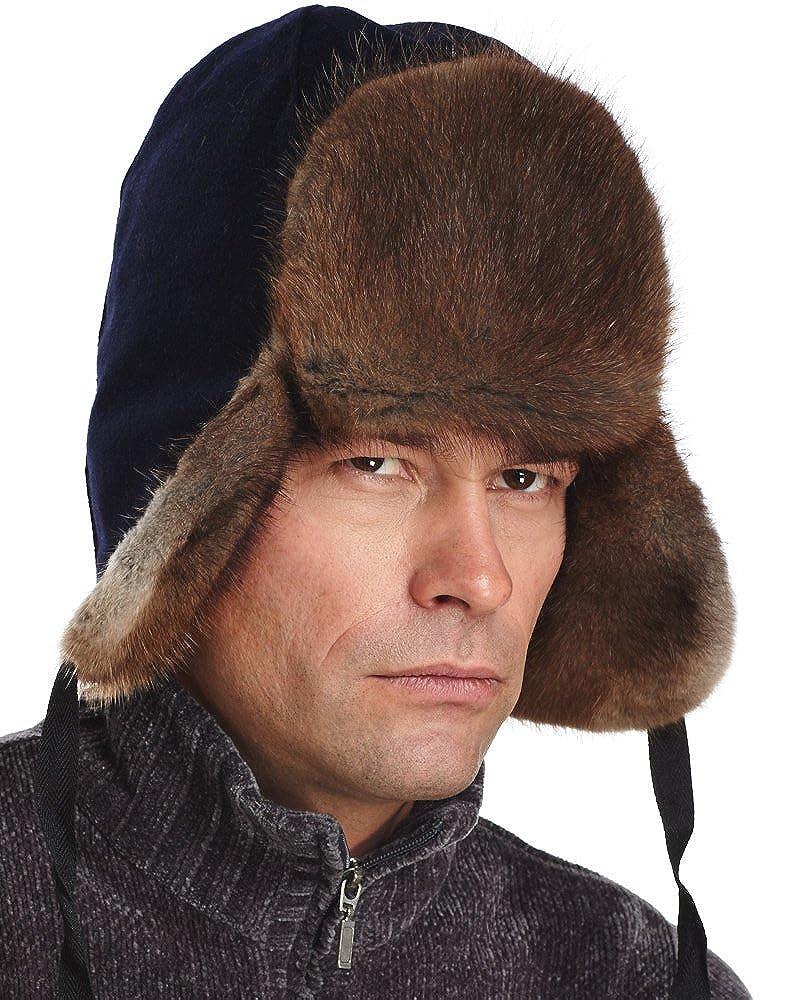14ca1c59a60 frr Canadian RCMP Muskrat Fur Jockey Trapper Hat at Amazon Men s Clothing  store