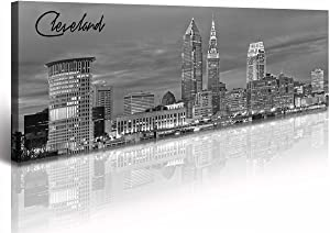 "Cleveland Skyline Decor Wall Art Canvas Prints Black and White Night View USA Cityscape Panoramic Painting for Bedroom Office Framed and Ready to Hang 13.8""x47.3"""