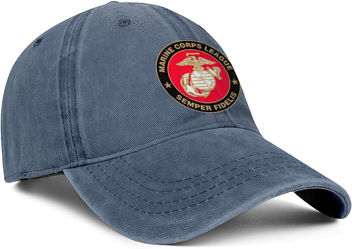 Marine Corps League Logo Vintage Washed Distressed Snapback Hats Style Twill Jean Hats Boys