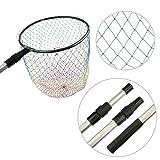 Goture(ゴチュール)ランディングネット伸縮式 三つ色編み ナイロン素材 玉網 釣りネット