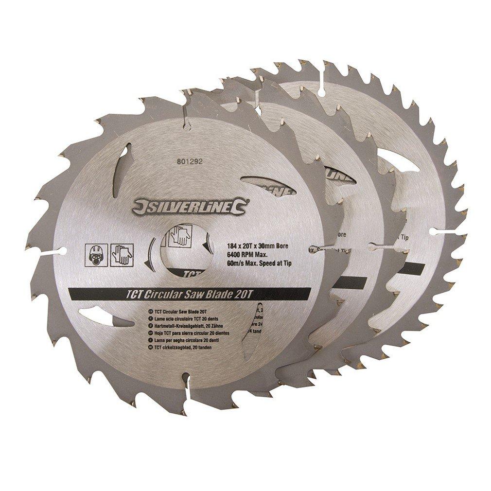 Silverline 801292 Lot de 3 lames scie circulaire carbure de tungstè ne 184 x 30 mm Bagues de 20 et 16 mm