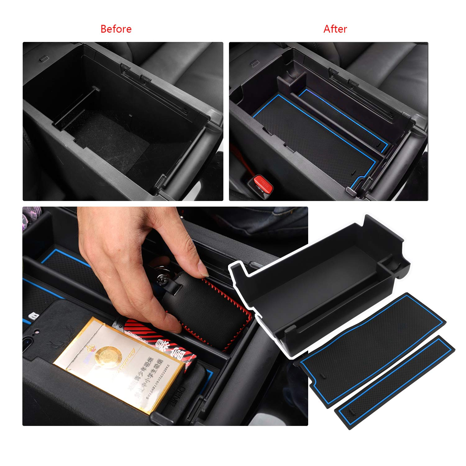 Red LFOTPP Mazda Mazda3 2019 Armrest Center Console Organizer Tray Accessories with Coin and Sunglasses Holder,Secondary Storage Box