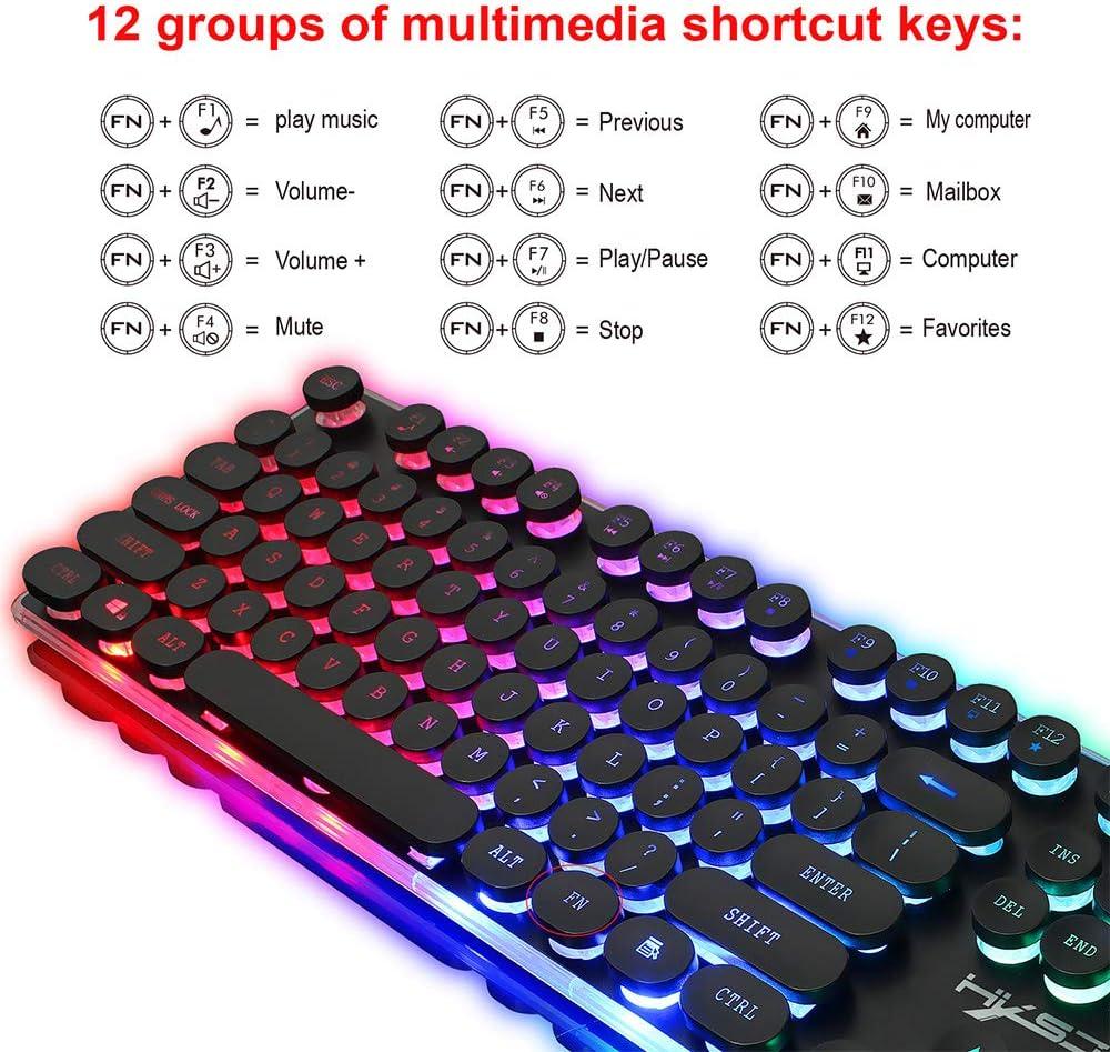 Cigooxm HXSJ V300Y Colorful Backlight Gaming Keyboard Mouse Set RGB Glowing USB Multimedia Ergonomic Mouse Keyboard Combos