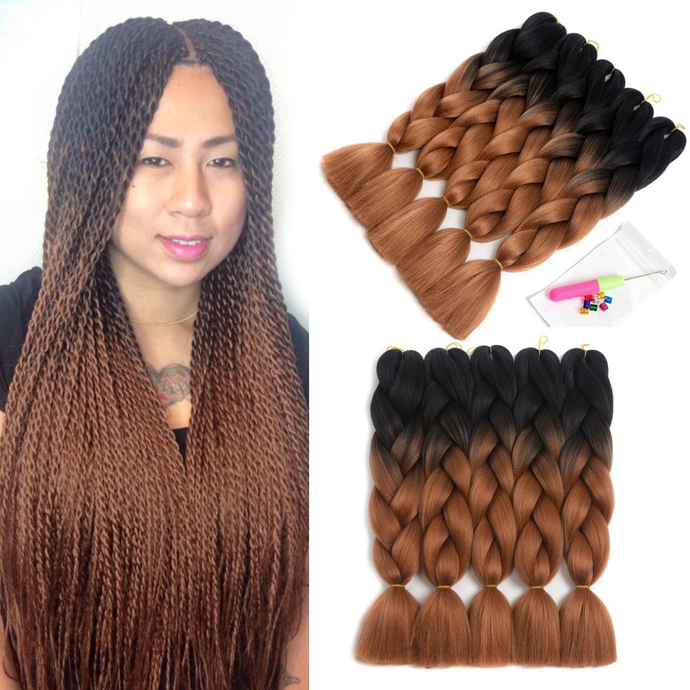 5 Pieces Dalin Ombre Synthetic Braiding Hair Extensions Kanekalon
