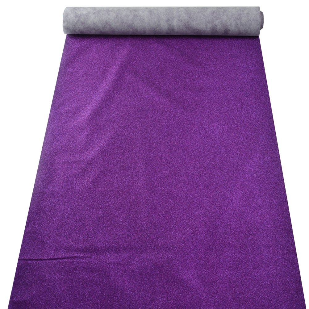 QIANDA Wedding Carpet Flashing Aisle Rugs Non-slip Non-woven Fabrics No Powder Durable Runway VIP, 6 Colors Thickness 3mm, Width 1m Multi-length Optional (Color : Purple, Size : 1m x 5m)