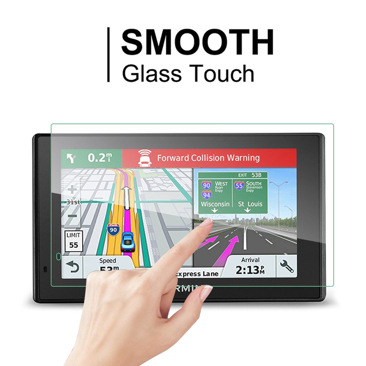 2PCS GLASS GPS Screen Protector for Garmin DriveSmart 50 51 LMT LMTHD 5 Inch, LFOTPP 9H Tempered GLASS Guard Shield Scratch-resistant Ultra HD Extreme Clarity