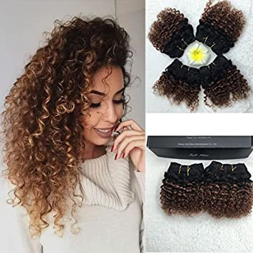 Full Shine 8 100g Per Package Remy Hair Ombre Extension Weave Extensions Human Hair Quick Weave Two Tone Color 1b To 33 Curly Hair Extensions For