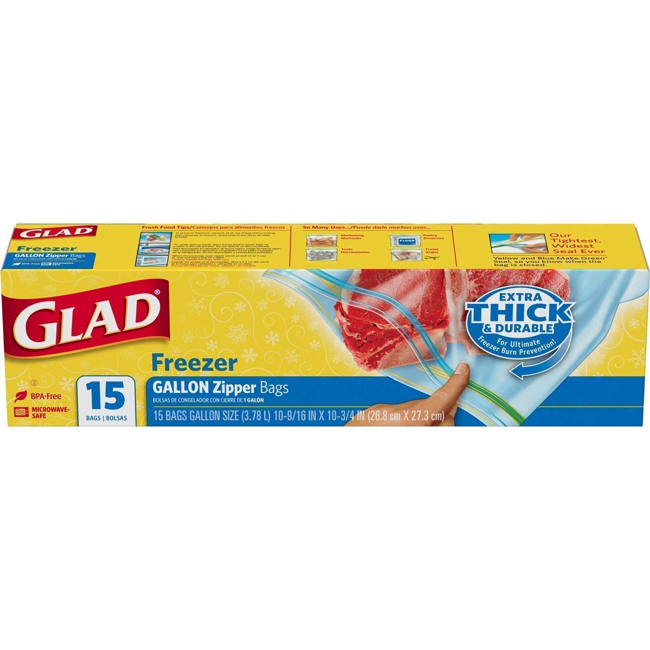 Glad Combo Freezer Bags, 15 Count Gallon Size (Large 10.56