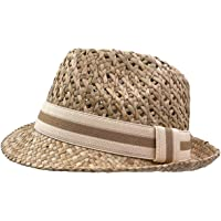 Yosang Sombrero de paja natural, unisex, sombrero de verano, sombrero para cosecha, sombrero Fedora, hecho a mano para…