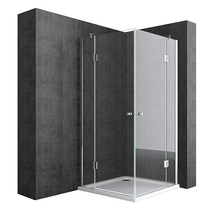 Duschabtrennung 90x100 cm, Klarglas, 8mm ESG-Sicherheitsglas & Lotuseffekt, 2 Pendeltüren, Duschwand Mit Eckeinstieg Ravenna0