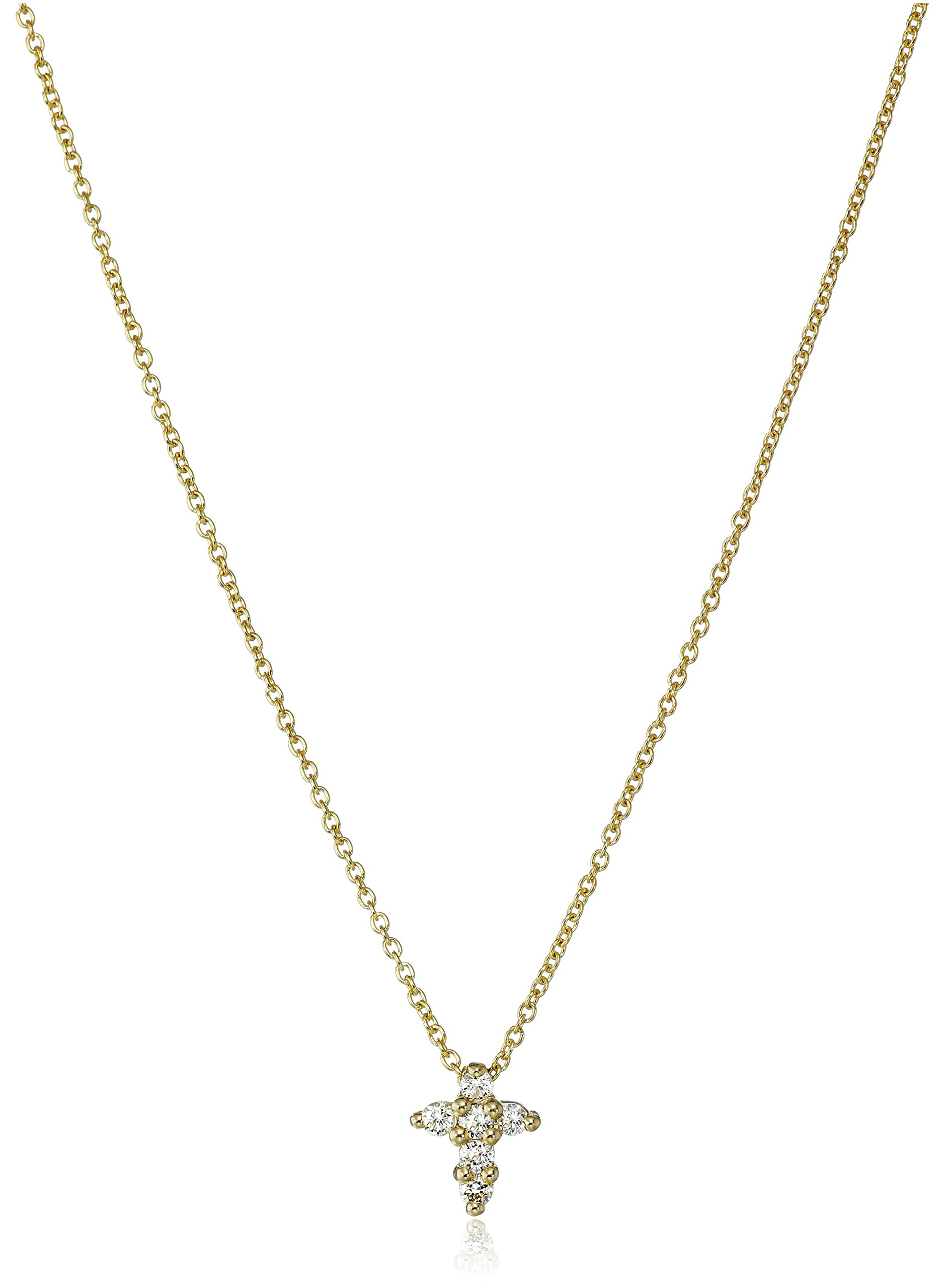 Roberto Coin ''Tiny Treasures'' 18k Yellow Gold Diamond Baby Cross Pendant Necklace (1/10cttw, G-H Color, SI1 Clarity)