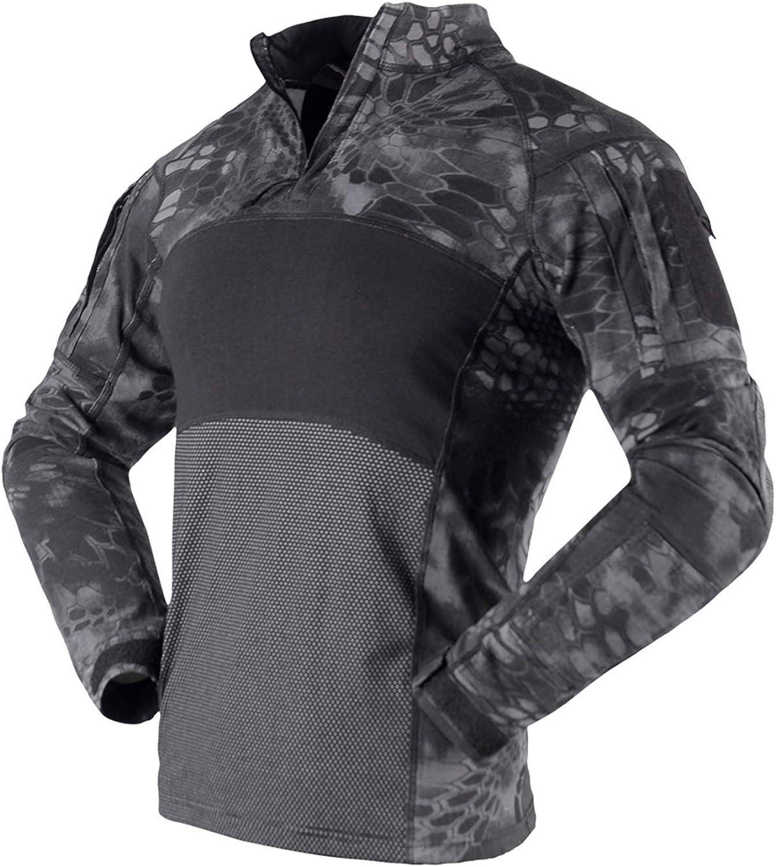 Camisa táctica militar transpirable de manga larga para hombre airsoft ropa al aire libre con bolsillos con cremallera