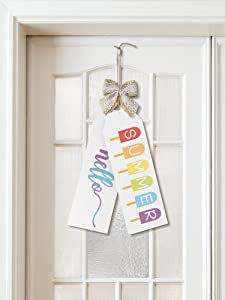 Jetec 2 Pieces Hello Summer Hanging Sign Printed Wooden Decorations Welcome Sign Front Door Decor for Home Window Wall Farmhouse Indoor Outdoor, 11.8 x 3.9 Inches