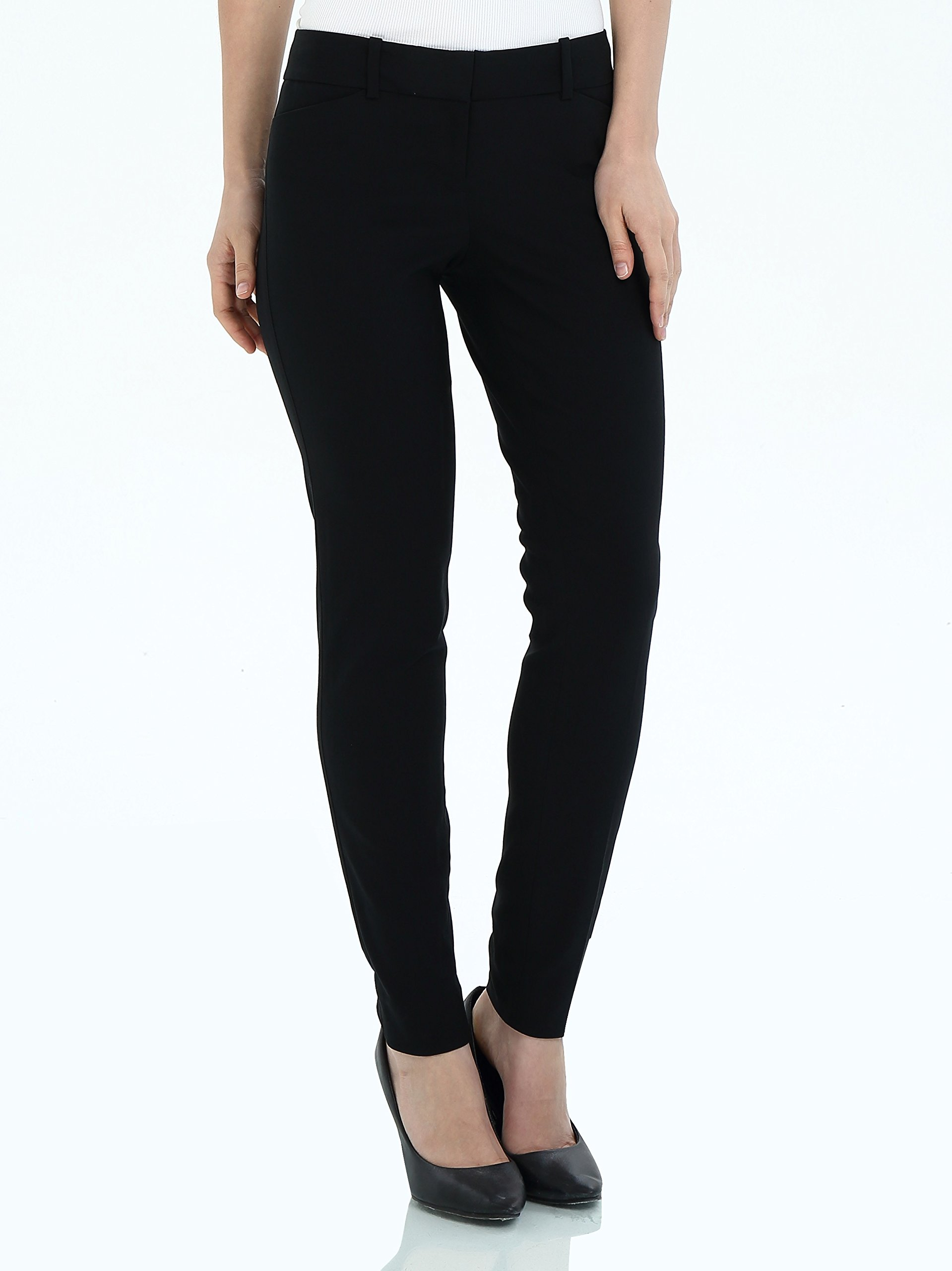 YTUIEKY Womens Dress Pants,Casual Straight Fit Trouser Career Straight Leg Pant,Slim Fit Super Stretch Comfy Skinny Pants (0, Black)