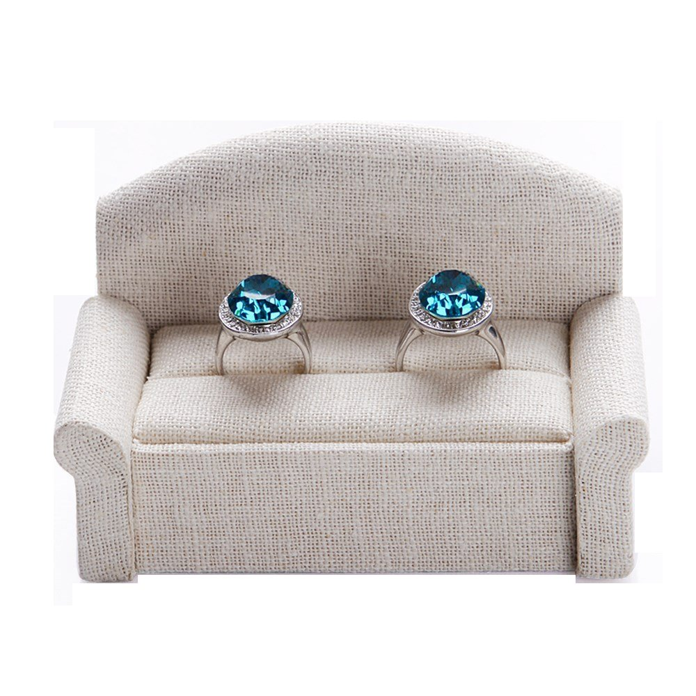 Oirlv Linen Ring Display Stand Mr. and Mrs. Ring Sofa Organizer Jewelry Display Holder