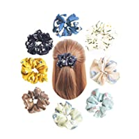 Deals on 8 Pack Hair Scrunchies Women's 3 Pattern 8 pcs Hairties Flower