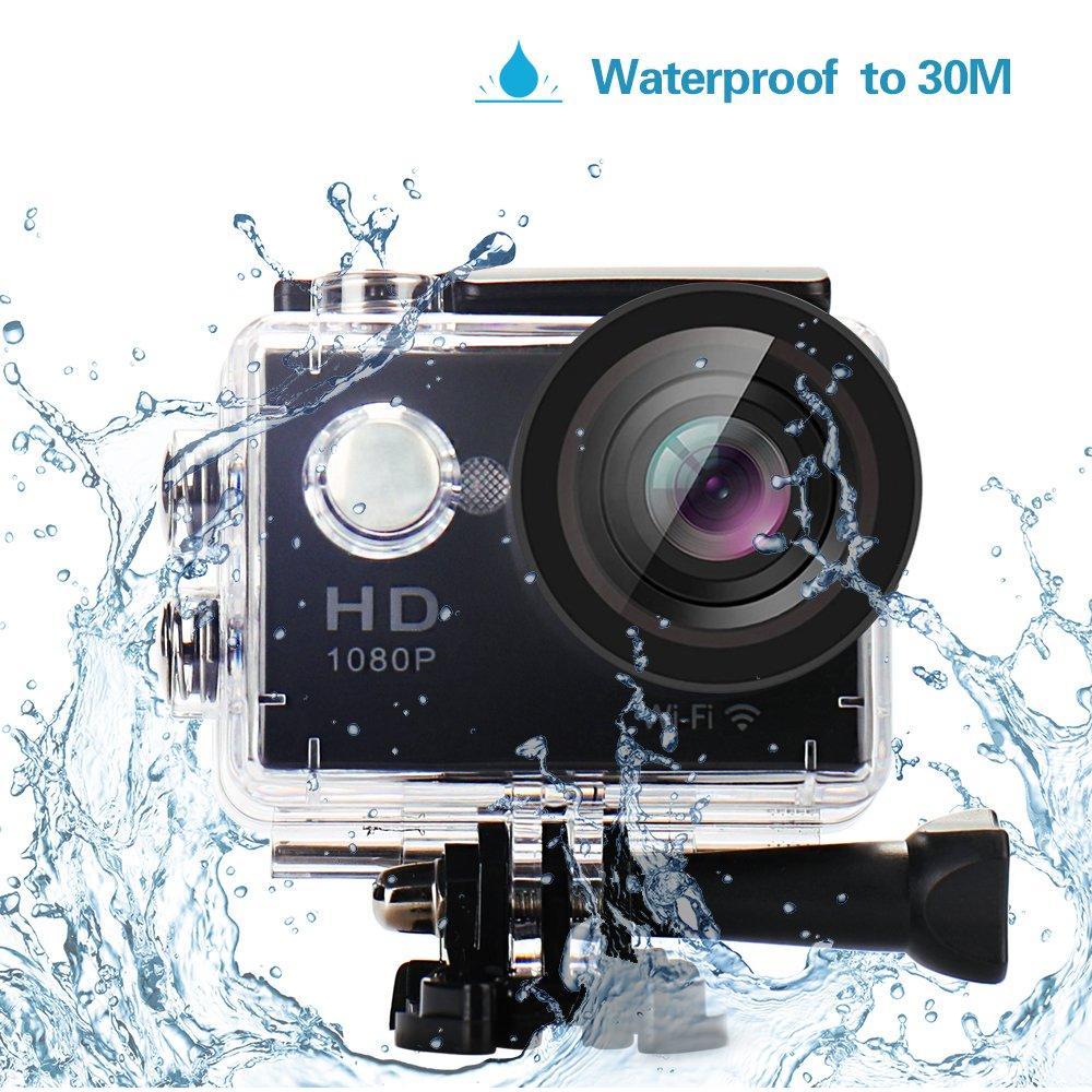 Yuntab HD 1080P 30fps 12 Mega Pixels Sport Mini DV Action Camera 2.0'' LCD 170° Wide Angle Lens 30M Waterproof WiFi Remote Control Outdoor Sports (Black)