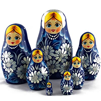 Matryoshka Russian Nesting Dolls Daisies on Blue Dress Set 7 pcs Best Idea for White Elephant Gifts: Home & Kitchen