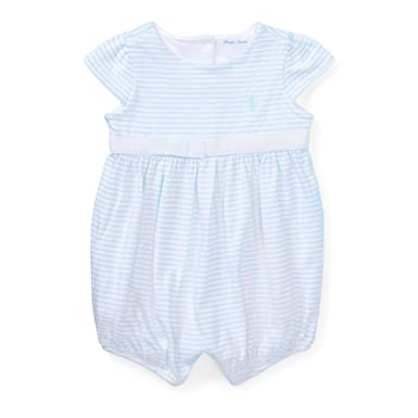 0c550ca14 RALPH LAUREN Baby Girl Striped Cotton Jersey Romper (3 Months, Beryl  Blue/White