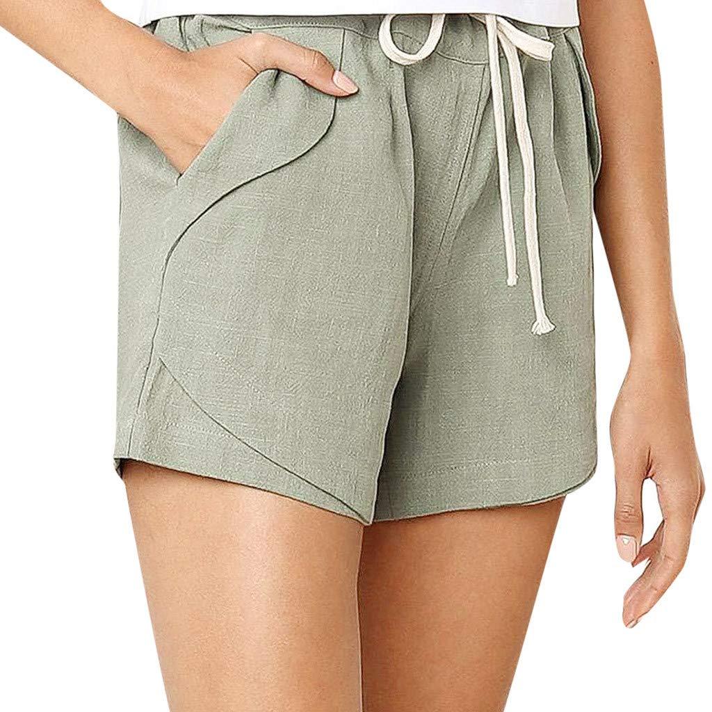 ZEFOTIM ✿ Casual Pants for Women Casual Solid Color Cotton Linen Pockets Bandage Elastic Waist Shorts Pants