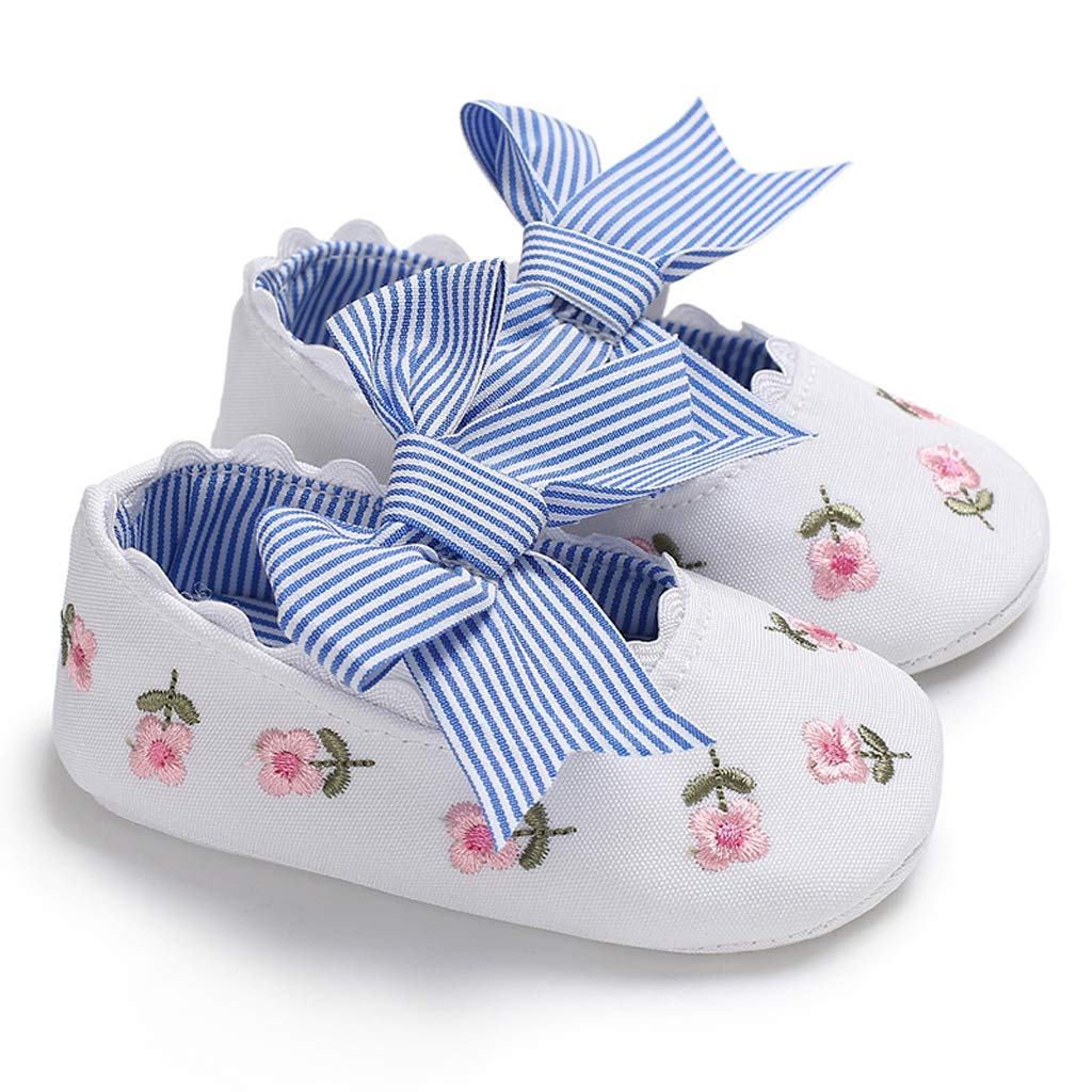 Horoshop 1 Pairs Horoshop Infant Toddler Baby Soft Sole Embroidered Flower Princess Shoes for Girls Walking Sneakers