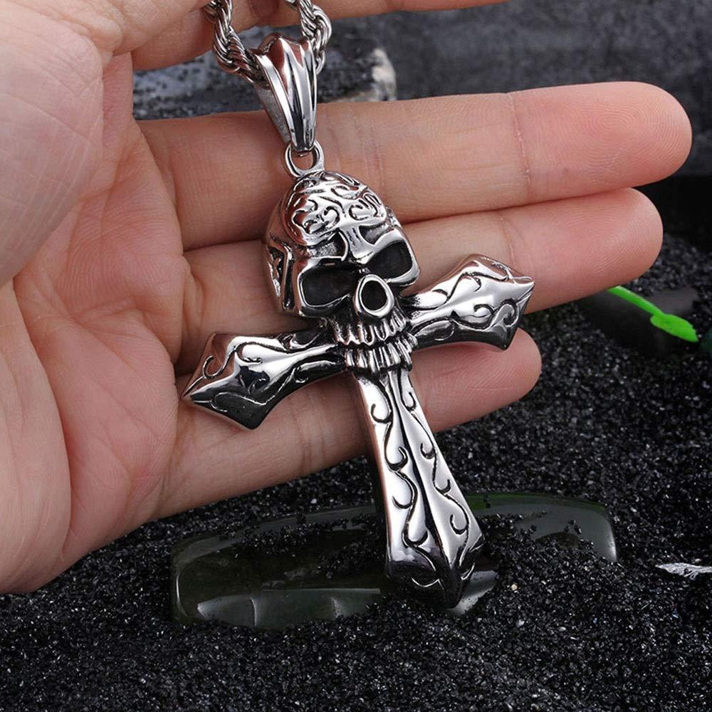 Han cheng he Mens Pendant Mens Stainless Steel Retro Vintage Oxidized Punk Cross Skull Pendant Gothic Pendant Necklace Silver Black Steampunk Pendants Jewelry for Men Choker