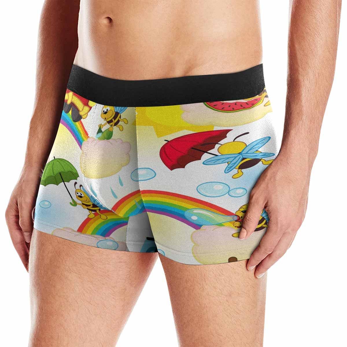 INTERESTPRINT Mens All-Over Print Boxer Briefs Bee on Rainbow XS-3XL