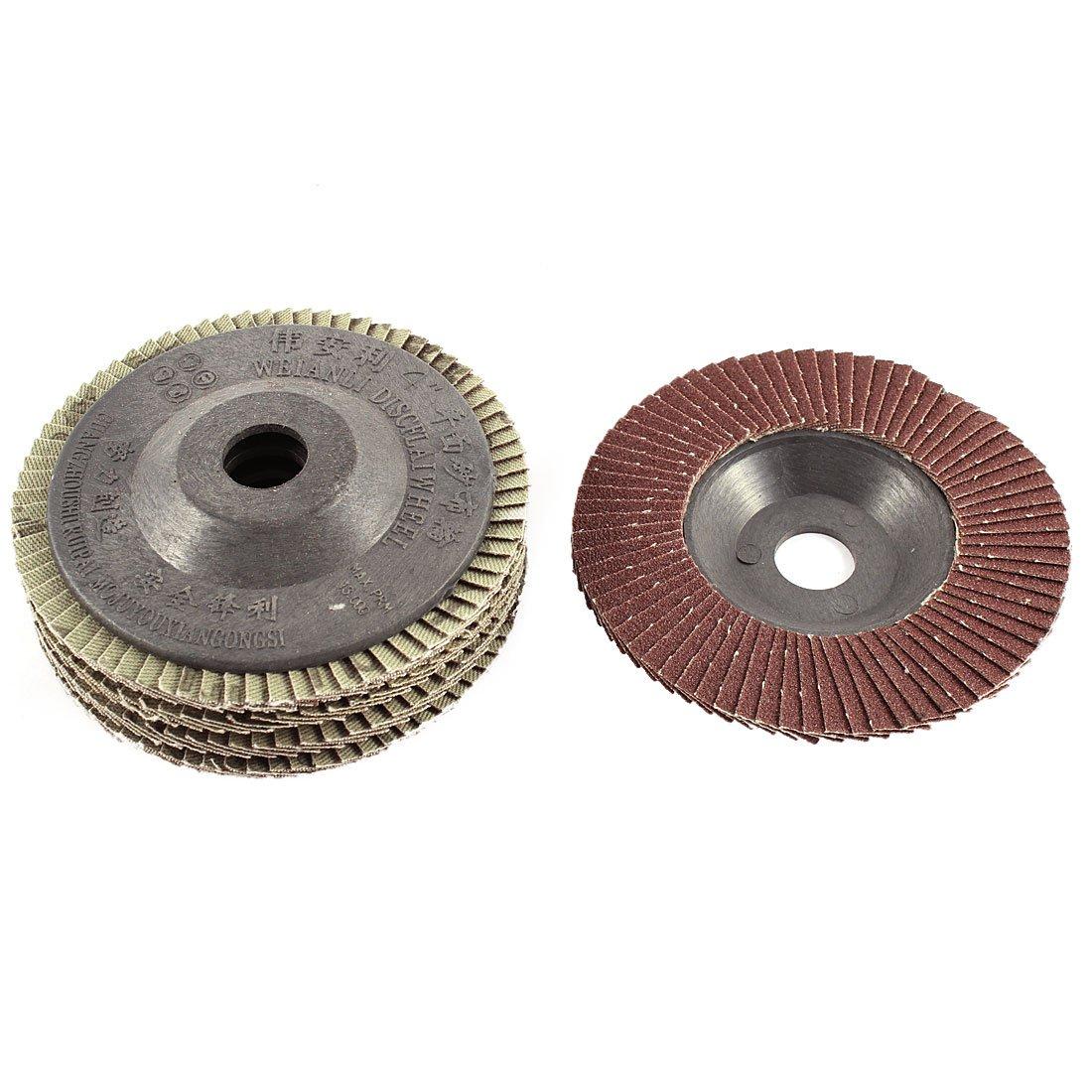 uxcell Metal 4'' x 5/8'' 60 Grit Flap Sanding Discs Grinding Wheel 5pcs