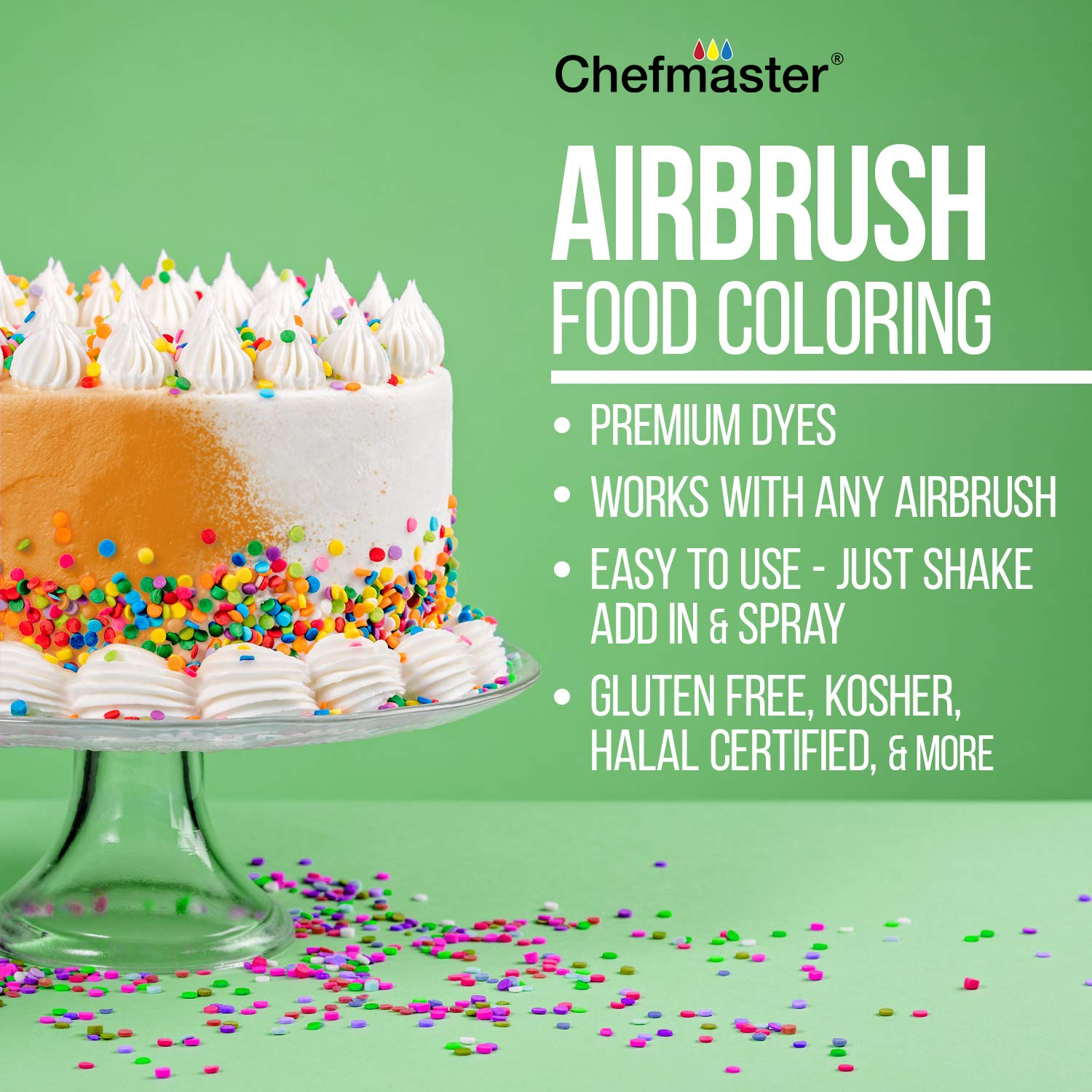 Chefmaster by U.S. Cake Supply 9-Ounce Neon Airbrush Cake Food Colors 6 Bottle Kit with Color Mixing Wheel by U.S. Cake Supply (Image #3)