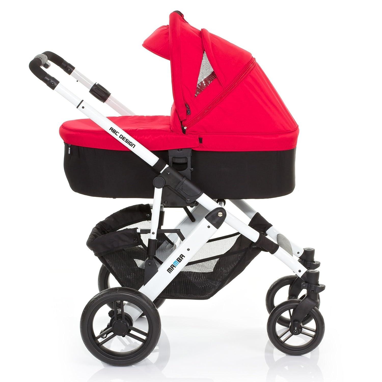 Abc Design - Asalvo - Coche de paseo trío mamba chasis blanco + asiento rojo: Amazon.es: Bebé