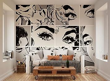 Mural De Pared Estilo Pop Art De Ohpopsi Xl Blanco Y Negro Amazon