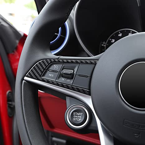 Globalflashdeal 2 Pcs Style de Fibre de Carbone pour Alfa Romeo Giulia Stelvio 2016 2017 2018 ABS Chrome Volant Decoration de Cadre Accessoires de Garniture