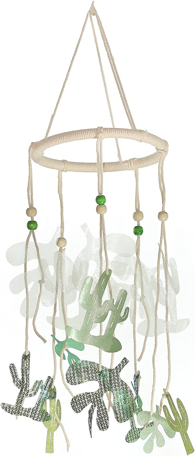 Roser Life Hanging Mobile Art⎮Baby Mobile⎮Sky Mobile⎮Eclectic Decor⎮Handmade Nursery Crib Boy Girl Kids Infant Adult Ceiling Home Outdoor Garden Green Cactus Decorations (Pack of 1)